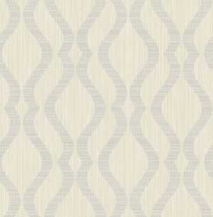 Yves Multicolor Ogee Wallpaper (SKU 2834-25064) A glamorous silver curved pattern effortlessly curls against a champagne background in this dazzling design.