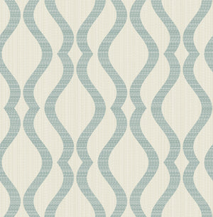 Advantage Yves Teal Ogee Wallpaper-SKU#2834-25066-omes complete with raised inks and champagne undertones, this wall covering has the look of linen. A teal curved pattern and beige background