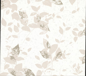 Advantage Oceane Off-White Toss Wallpaper-SKU#2834-402506-Grey and bronze leaves joyfully saunter across an off-white background, in this botanical toss design. Its textured print is accented by glitter and distressed details.