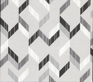 Verity Multicolor Herringbone Wallpaper-geometric herringbone print.  The interplay of silver, black and grey hues gives its textured design a modern feel.