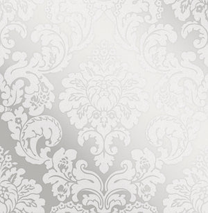 Advantage Margot Silver Damask Wallpaper-SKU#2834-42238-Raised inks, glitter accents and a silver background