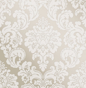 Advantage Margot Bronze Damask Wallpaper-SKU#2834-42250-Textured and glitter accents emphasize a bronze background and grey damasks.