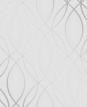 Lisandro Light Grey Geometric Lattice Wallpaper-A silvery geometric lattice gracefully twirls against a light grey background with glitter and metallic ink details