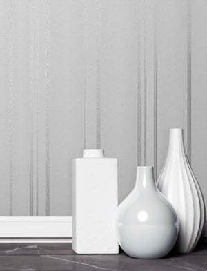 Thierry Grey Stripe Wallpaper-textured silver and grey stripes.  hung on wall