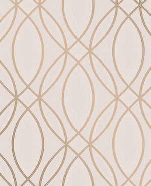 Lisandro Rose Gold Geometric Lattice Wallpaper-geometric lattice print. Its rose gold hue effortlessly complements a textured, neutral background.