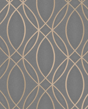 Lisandro Taupe Geometric Lattice Wallpaper-A textured taupe background hosts a bronze geometric lattice print with glittering accents