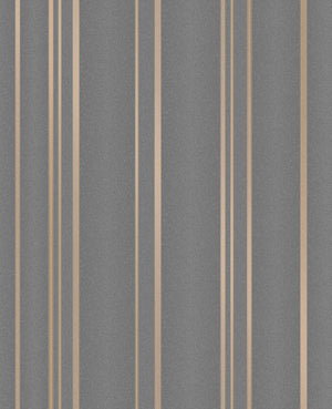 Advantage Thierry Taupe Stripe Wallpaper-SKU#2834-42351-Copper stripes dazzle with glittering accents and a rich taupe shade