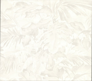 Advantage Boyce Ivory Botanical Wallpaper-SKU#2834-529203-this cream botanical wallpaper has the look of high end fabric. A satin inspired design that softly shimmers with a pearlescent sheen and grey undertones.