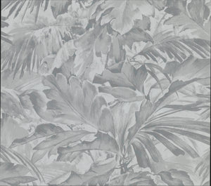 Advantage Boyce Grey Botanical Wallpaper-SKU#2834-529241-grey botanical wallpaper features beautiful leaves with a monochrome edge. Its satin inspired design includes stitching details and textured accents.