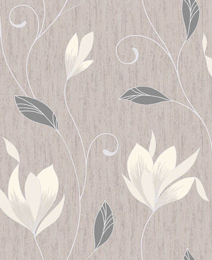 Advantage Anais Neutral Floral Trails Wallpaper-SKU#2834-M0782-Glittering white magnolias blossom against a chic neutral background, with textured accents
