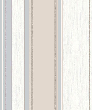 Mirabelle Neutral Stripe Wallpaper-Textured accents and glittering details with silver, beige, and white stripes.