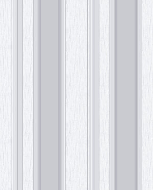 Mirabelle Silver Stripe Wallpaper-Alternating silver and off-white stripes shimmer with glittering accents and raised inks.
