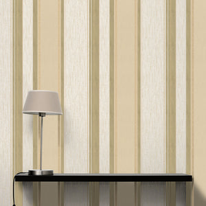 Mirabelle Cream Stripe Wallpaper-Alternating champagne and cream stripes with raised inks, gold glitter and a pearlescent sheen.  hung in living room