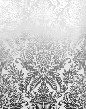 Bernadette Cream Damask Wallpaper-An ornate metallic damask pattern dazzles against a rich cream background. close up of pattern