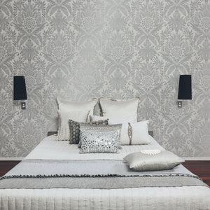 Bernadette Cream Damask Wallpaper-An ornate metallic damask pattern dazzles against a rich cream background.  hung in bedroom