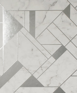 Gulliver Silver Marble Geometric Wallpaper- Its off-white faux stone design is complete with a gold geometric pattern and grey undertones.