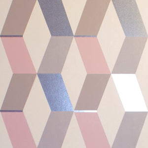 Rochelle Multicolor Geometric Wallpaper-The interplay of silver, grey and pink diamonds creates a geometric print.