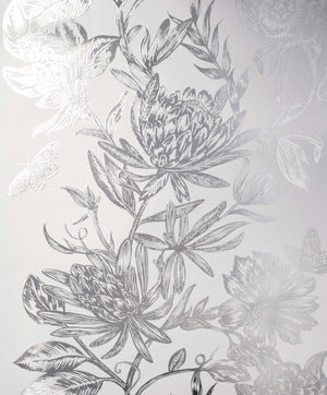 Marquis Grey Floral Wallpaper-brilliant botanical wallpaper features a dazzling floral design. Its silvery pattern effortlessly complements a soft grey background.