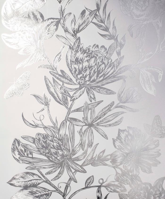 Marquis Grey Floral Wallpaper