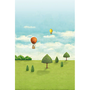 Small Royal Pipland Mural- the grass is always green and the sun is always shining! Hot air balloons soar over an open meadow filled with trees that have been perfectly sculpted.