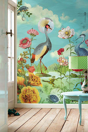 Kiss The Frog Mural-a beautiful water scene to life filled with modern detail and colorful shades.  with birds, flowers and lake. hung in entryway