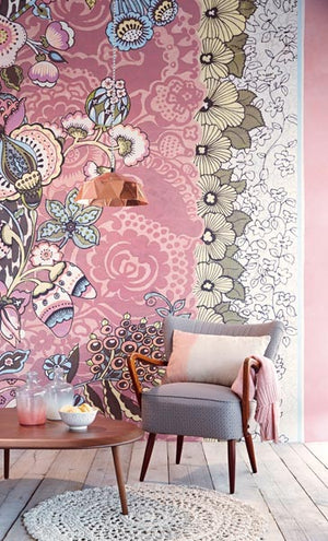 Tiger Blush Floral Patchwork Mural-a patchwork of leopard spots,  Jacobean flowers and vintage details with a light palette of blush, sky, grey and cream tones.