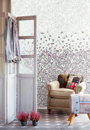Flor Foliage Platinum Vintage Floral Motif Mural-With a cascading waterfall of blossoms, accumulating on a tonal garden toile, hung in living room