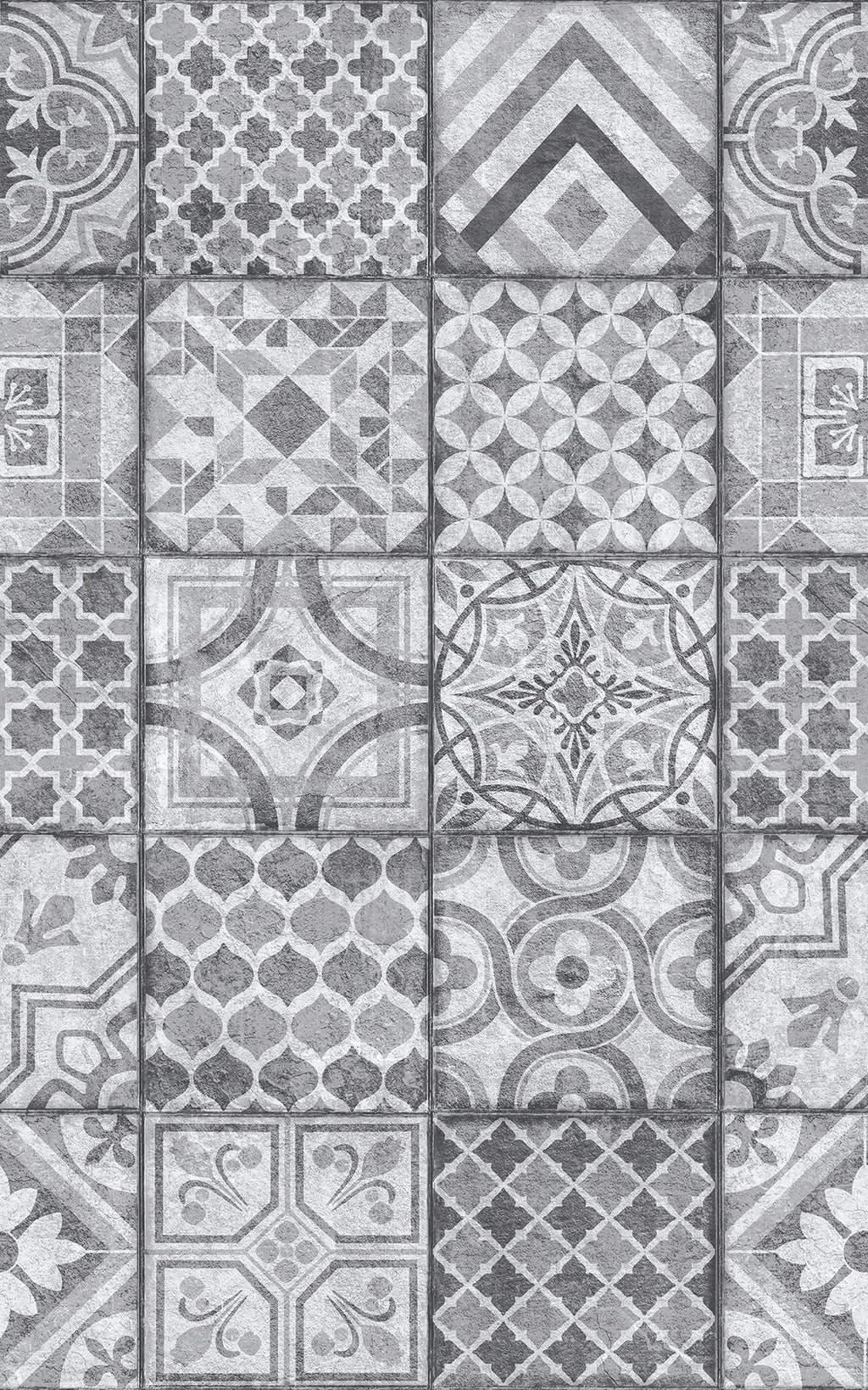 Visbi Adhesive Film-Moroccan style grey tile with various designs in each tile.