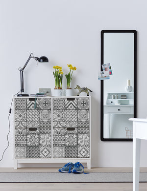 Visbi Adhesive Film-Moroccan style grey tile with various designs in each tile. used on front of 3 drawer dresser