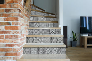Visbi Adhesive Film-Moroccan style grey tile with various designs in each tile.  used on back of steps