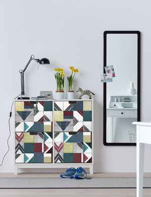 Kopago Adhesive Film-self adhesive vinyl film-geometric pattern has teal, maroon and light yellow hues. Done on front of 3-drawer dresser.