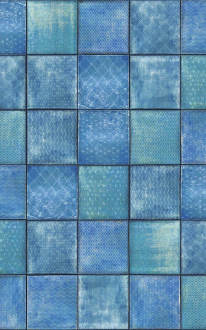Svanek Adhesive Film- denim and turquoise hues tile inspired adhesive film.