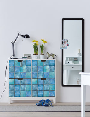 Svanek Adhesive Film- denim and turquoise hues tile inspired adhesive film. used to cover front drawers of dresser