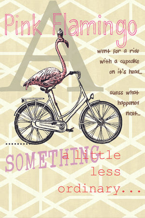 Pink Flamingo' Honey Mural-pink flamingo on bike with words Pink Flamingo Something a little less ordinary printed in pink