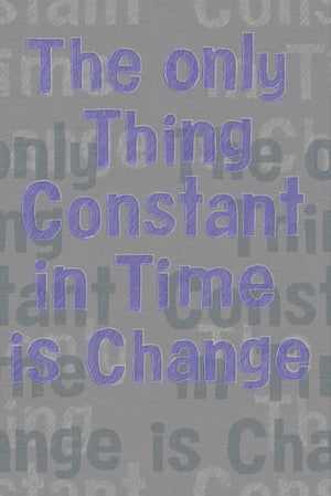 "Change Purple Mural-A' Hot purple pops on top of a charcoal grey backdrop in this unique quote' Wall mural. ""The only thing constant in time is change""."