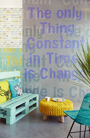 "Change Purple Mural-A' Hot purple pops on top of a charcoal grey backdrop in this unique quote' Wall mural. ""The only thing constant in time is change"". hung in sitting area"