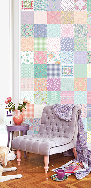 Wonderful Patchwork Mural-The floral and geometric prints are arranged in a cozy patchwork design. done in pastel shades