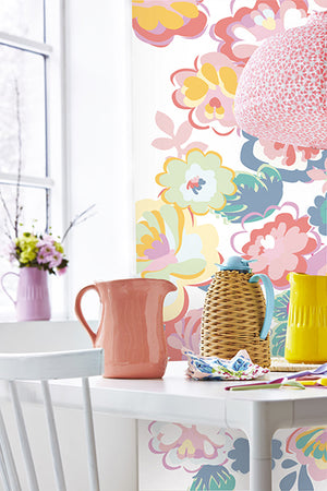 White English Country Floral Dream Mural-Graphic style pastel flowers cascade over an off-white background. hung in kitchen