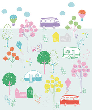 Road Trip Mural-Doodle-style campers, trees, and roadside sights in happy colors decorate a sea foam and white background.