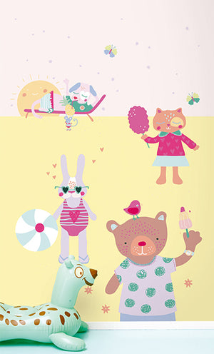 Girls On Holiday Mural-Cartoon creatures enjoy the pastel yellow sand under a pink sky.