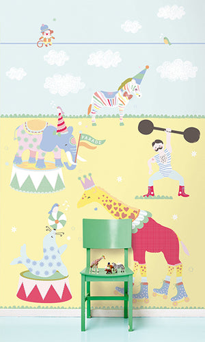 The Circus In Town Mural-Playful circus animals in pastel colors accompany a cheerful strong man.