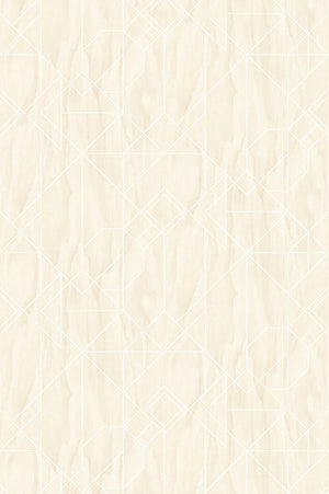 Wood Deco Wall Mural-classic wood-grain pattern with a white geometric pattern.