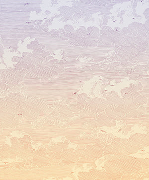 Sunset Wall Mural-ombre background with artistic line clouds. Birds fly among the dreamy scene.