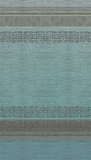 Eijffinger Turquoise Tapestry-SKU#376090-This horizontal stripe tapestry has a chic printed design. The brown and teal metallic inks create a shimmering finish that sparkles in the light.