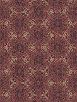 Eijffinger Terra Boho Flower Mural-SKU#376094-metallic wall mural. The large scale medallion print has a lacy print with a plum colored background, maroon flowers and copper accents.