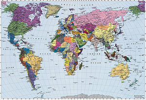World Map Wall Mural-countries are made of various colours with blue water.