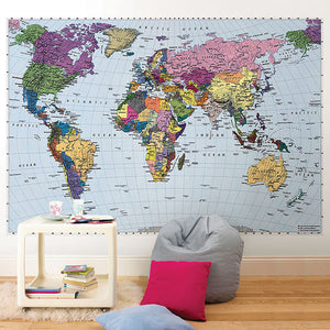 World Map Wall Mural-countries are made of various colours with blue water. hung in office