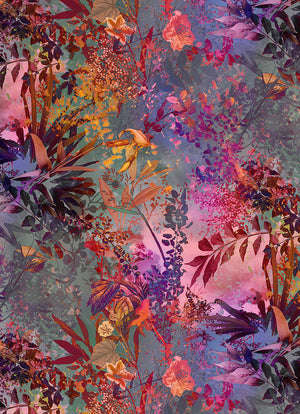 Wild Garden Wall Mural-its silhouetted forest flowers and curling leaves are brilliant purple, pink and green hues.