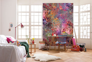 Wild Garden Wall Mural-its silhouetted forest flowers and curling leaves are brilliant purple, pink and green hues.  Hung in living room between 2 windows