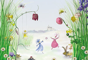 Princess Wall Mural-a distant castle. Fairy princesses, along with their bunny and ladybug friends, swing and play among the flowers.